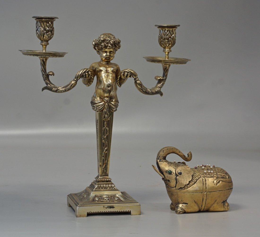 """Cast brass double arm figural cherub candelabra, 13"""" h,"""