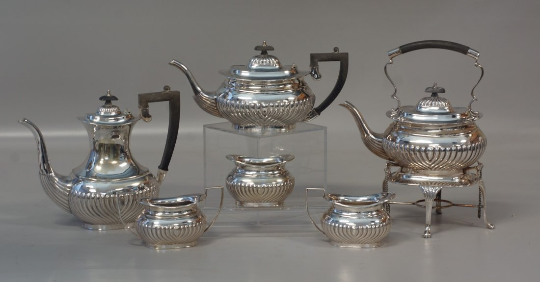 6-Piece plated silver teaset with fluted bodies, marked