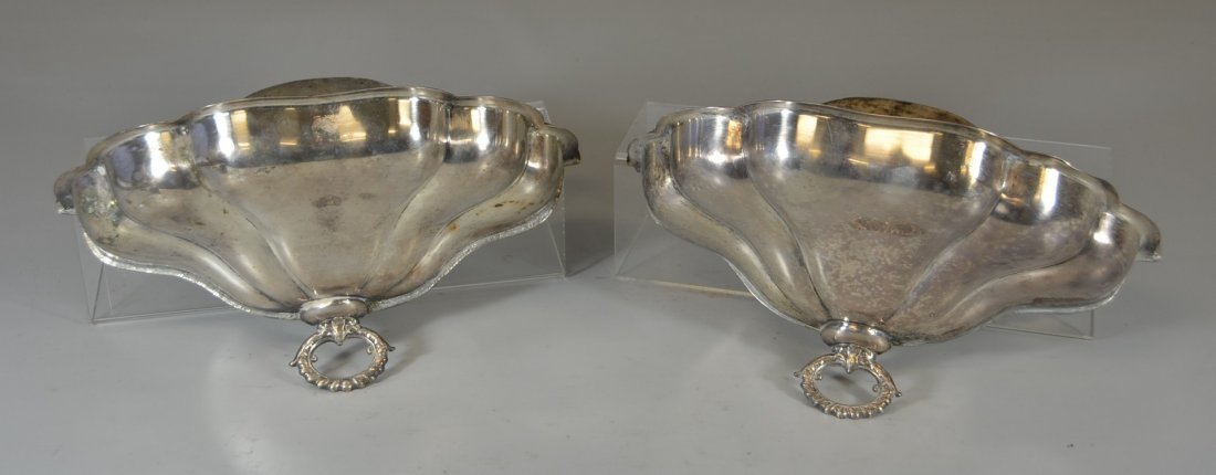 Pair of plated silver wall planters with copper