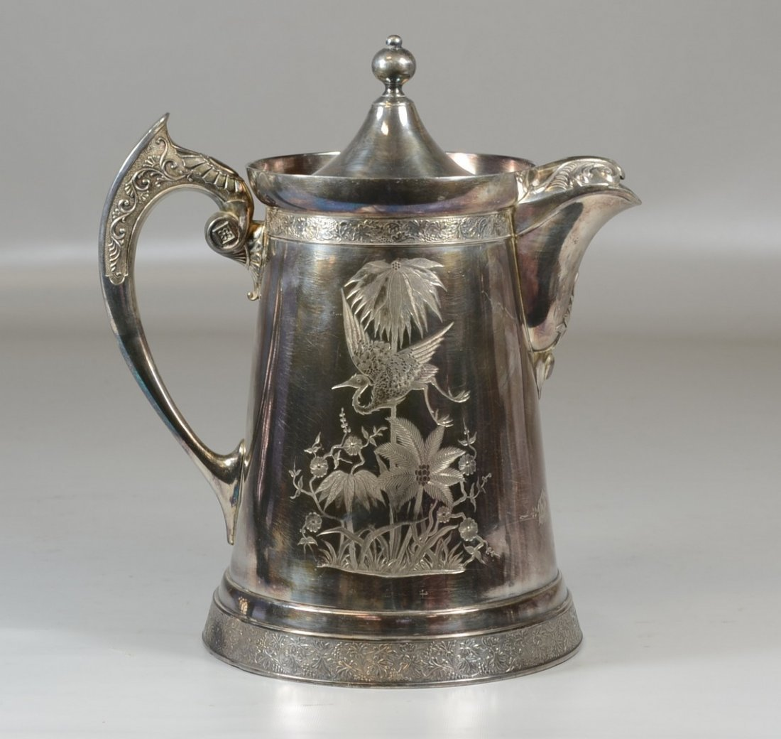 Insulated silverplate water pitcher by Wilcox