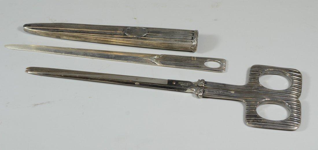 Sterling silver desk set consisting of scissors &