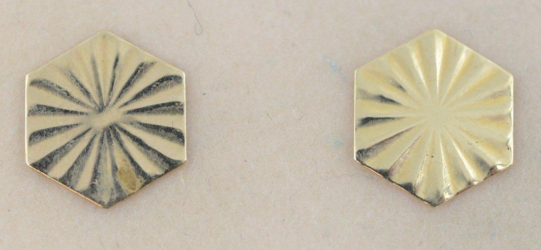 Pair of 14K YG stud earrings, .2 dwt