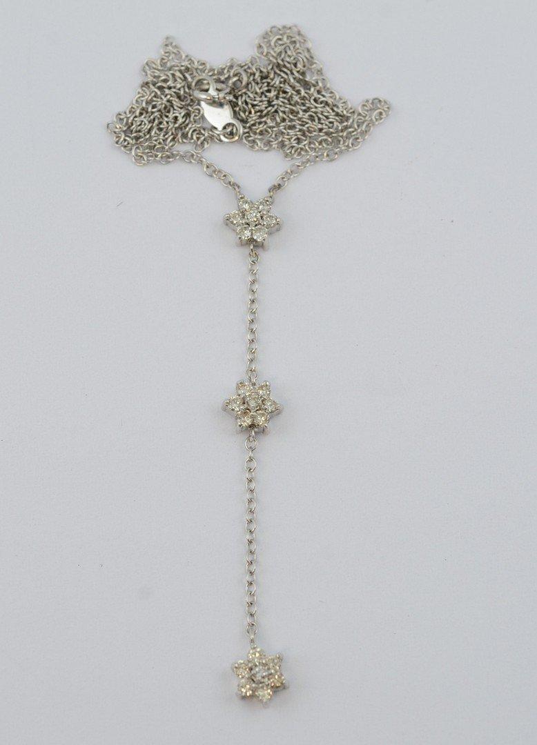 14K WG necklace with 3 diamond set stars on drop