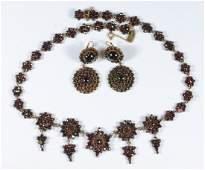 Victorian garnet flower head necklace with 4 grape