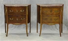 Pr inlaid mahogany ormolu mounted Louis XV style marble