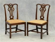 Pr George III mahogany Chippendale side chairs pierced