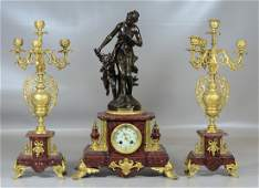 3 pc French bronze figural clock set rouge marble