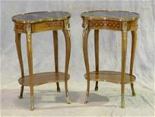 Pr of French Style Marble Top Side Tables 20th C With