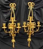 Pr of Louis XV Style Gilt Bronze Three Arm Wall