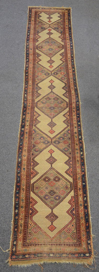"""3'4"""" x 18' Hamadan runner, wear and losses to ends"""
