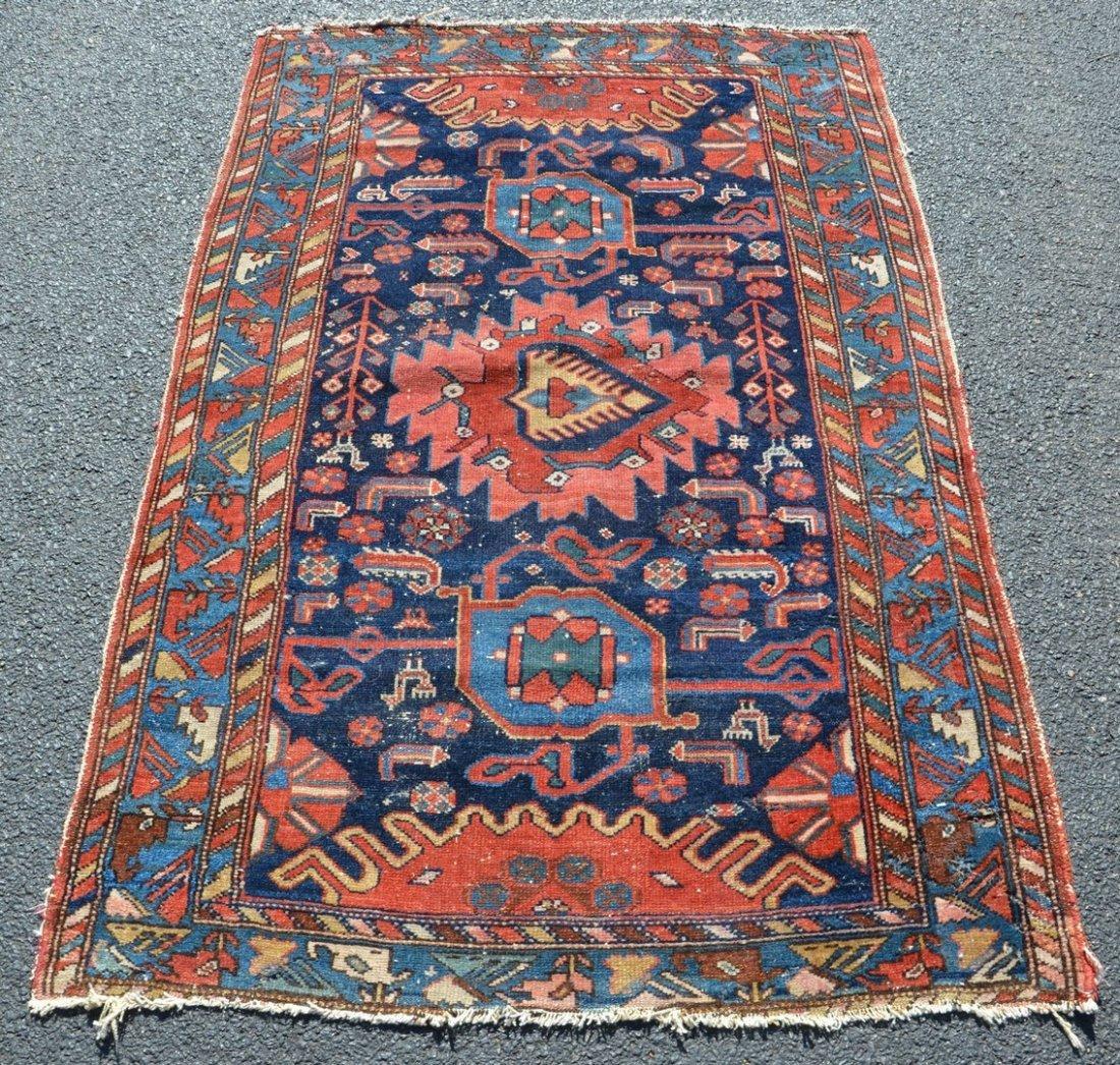Persian carpet, binding worn, some moth damage, approx