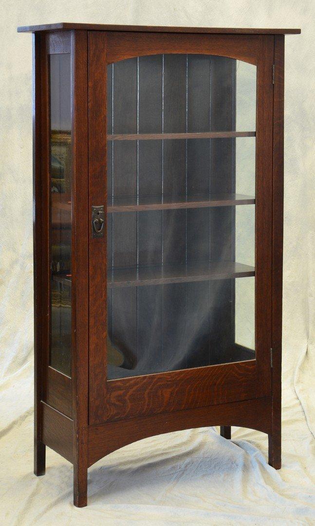 Gustav Stickley Mission Oak china cabinet, model #803,