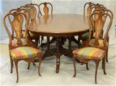 Inlaid double pedestal dining room table, banded oval