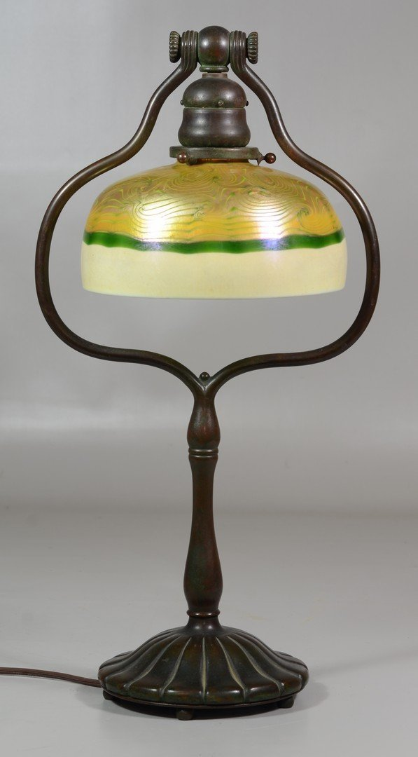 """Tiffany Studios Harp Desk Lamp, marked """"Tiffany Studios"""