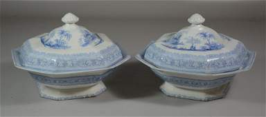 Pair of English Blue and White Staffordshire Covered