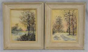 (2) Raphael Senseman (American, 1870-1965), watercolor,