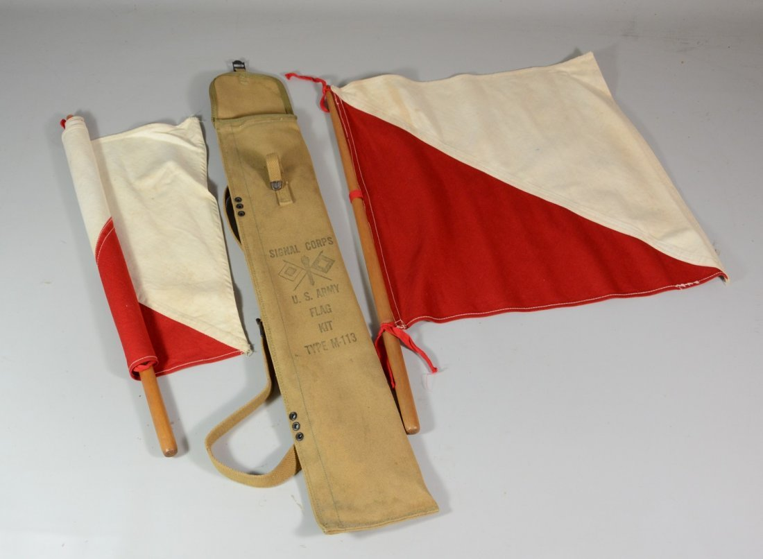 Signal Corps US Army Flag Kit, Type M-113, with 2 flags