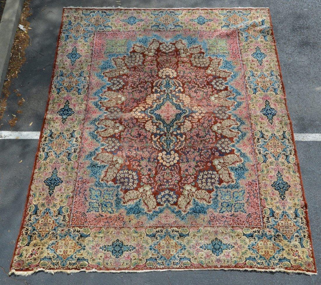 """8'10"""" x 12' Tabriz Carpet, wear through middle"""