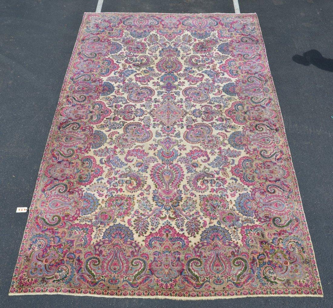 11' x  18' Ivory Kirman Carpet
