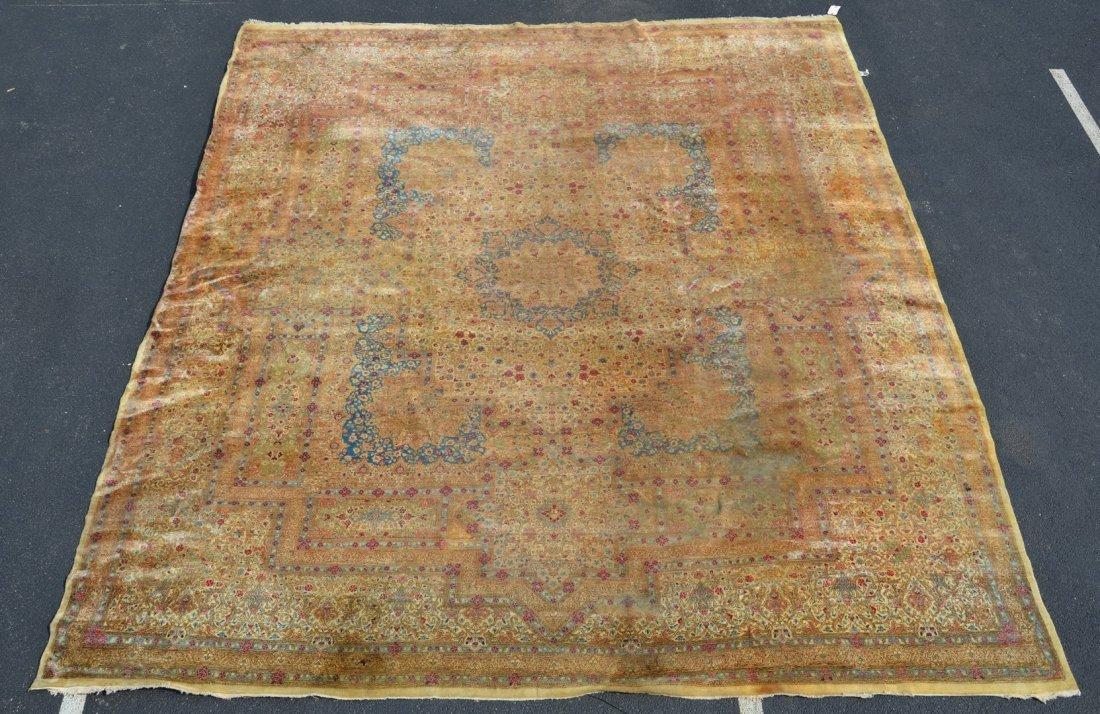 17' x 16' Kirman Carpet, moth damage and wear