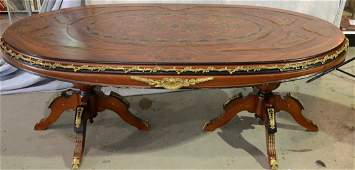 French style gilt metal mounted oval dining table with