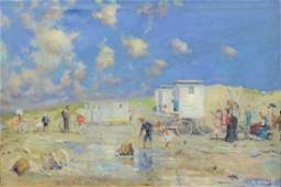 E Pemberton 20th Century oil on canvas Beach Scene
