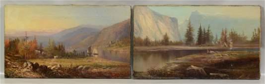 (2) Style of Albert Bierstadt (American, 1830-1902),