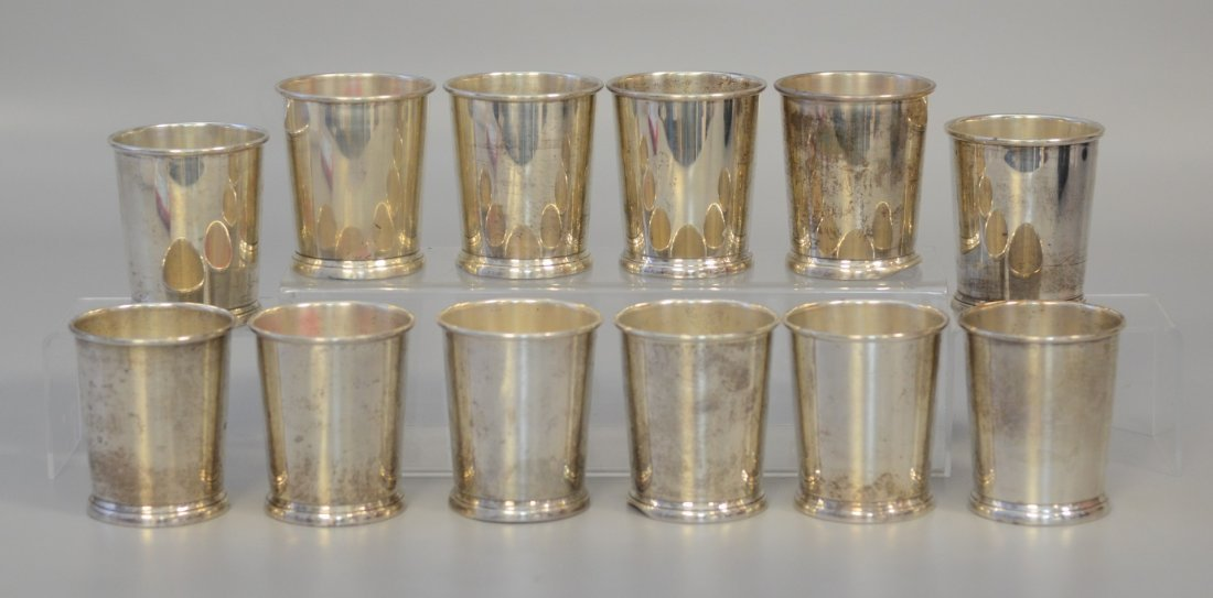 12 WEB sterling silver julep cups, 43 troy oz