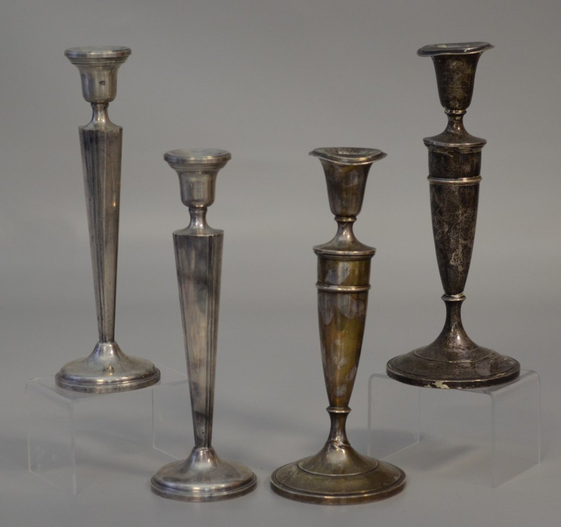 """2 Pair of weighted sterling candlesticks, Gorham 10"""" h,"""