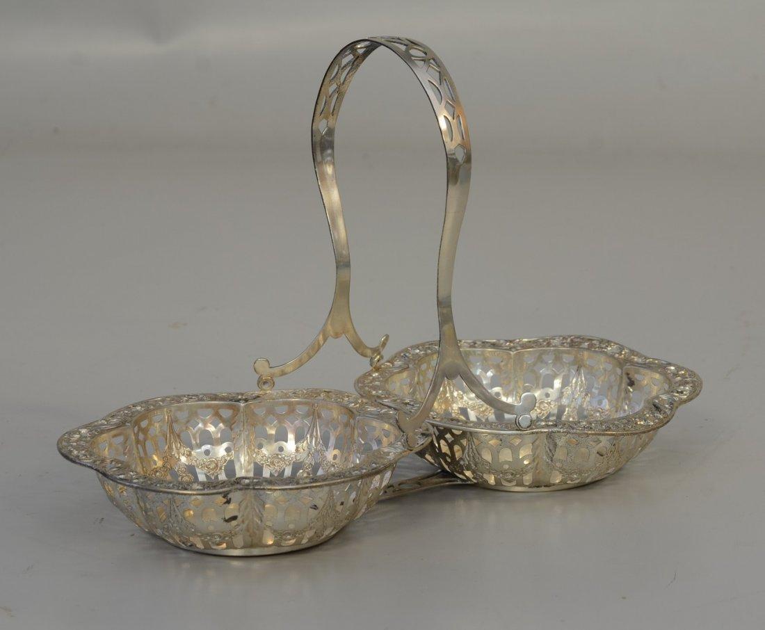 Sterling silver double basket, ornate pierced &