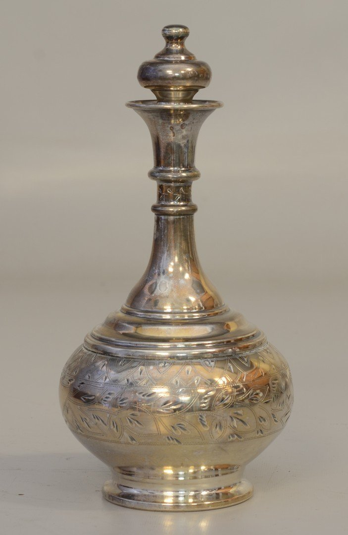 """Russian silver engraved bottle, marked """"84"""" and"""