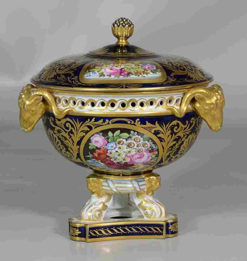 Continental Porcelain Painted Centerpiece Bowl, dark