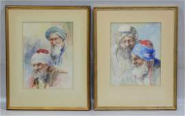2 Continental School 20th Century watercolor Arab