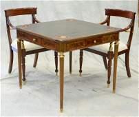 Maitland Smith mahogany Louis XVI style game table,