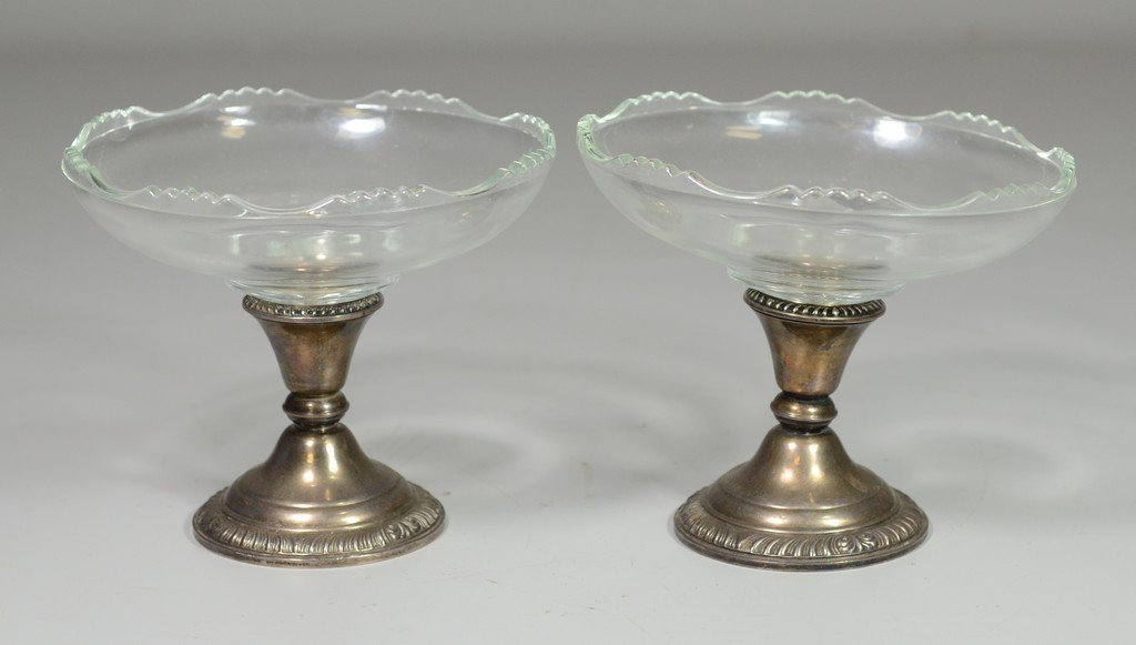 Pair of glass compotes with weighted sterling silver