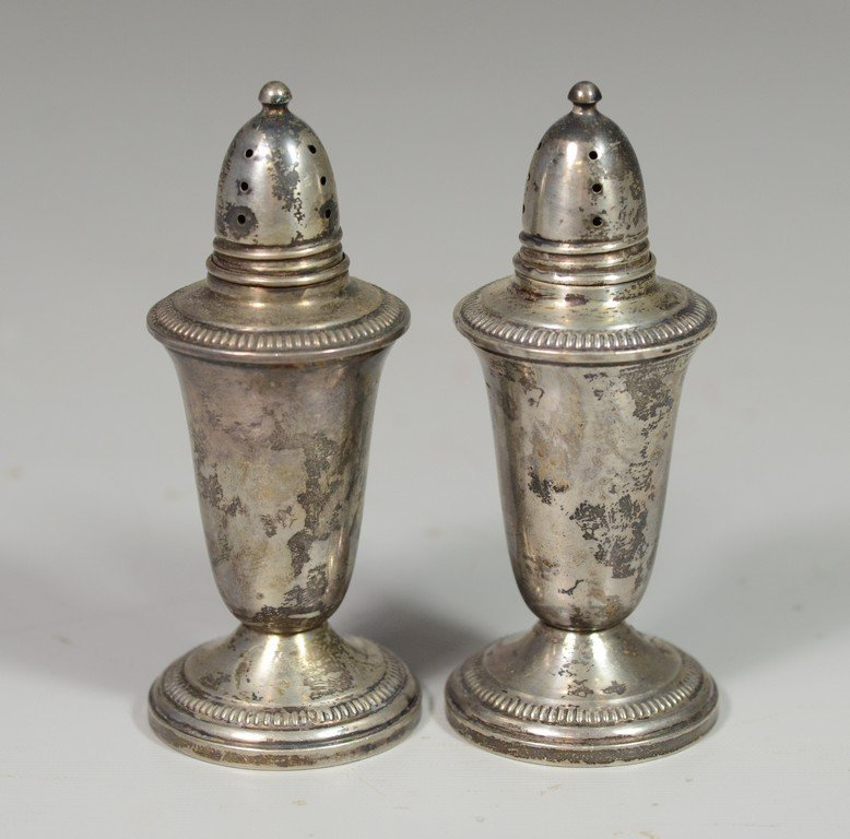 Pr sterling silver shakers with urn like design to