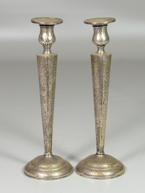 Pr hammered weighted sterling silver candlesticks,