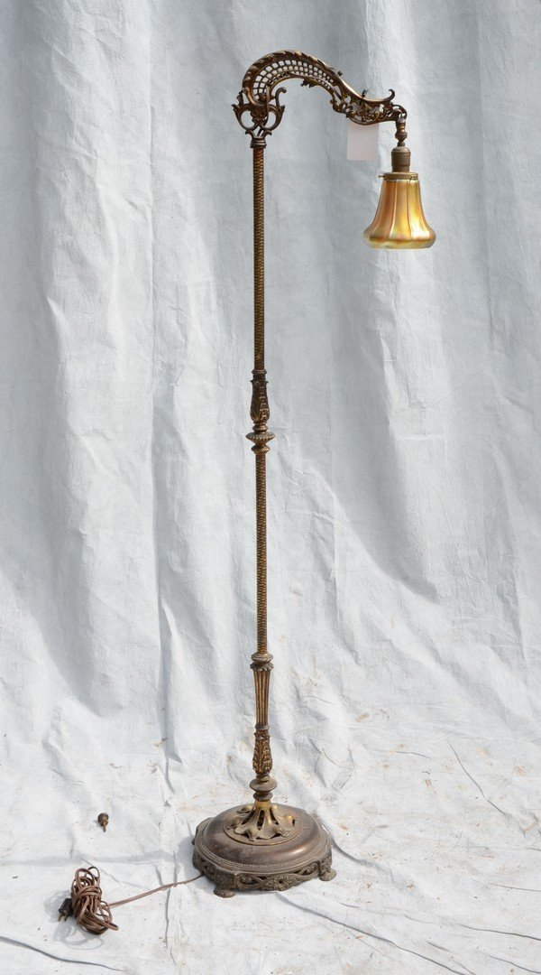 Floor lamp with Quoizel-style shade with gold