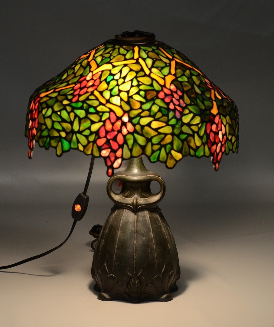 Art nouveau or Tiffany style lamp with grape motif