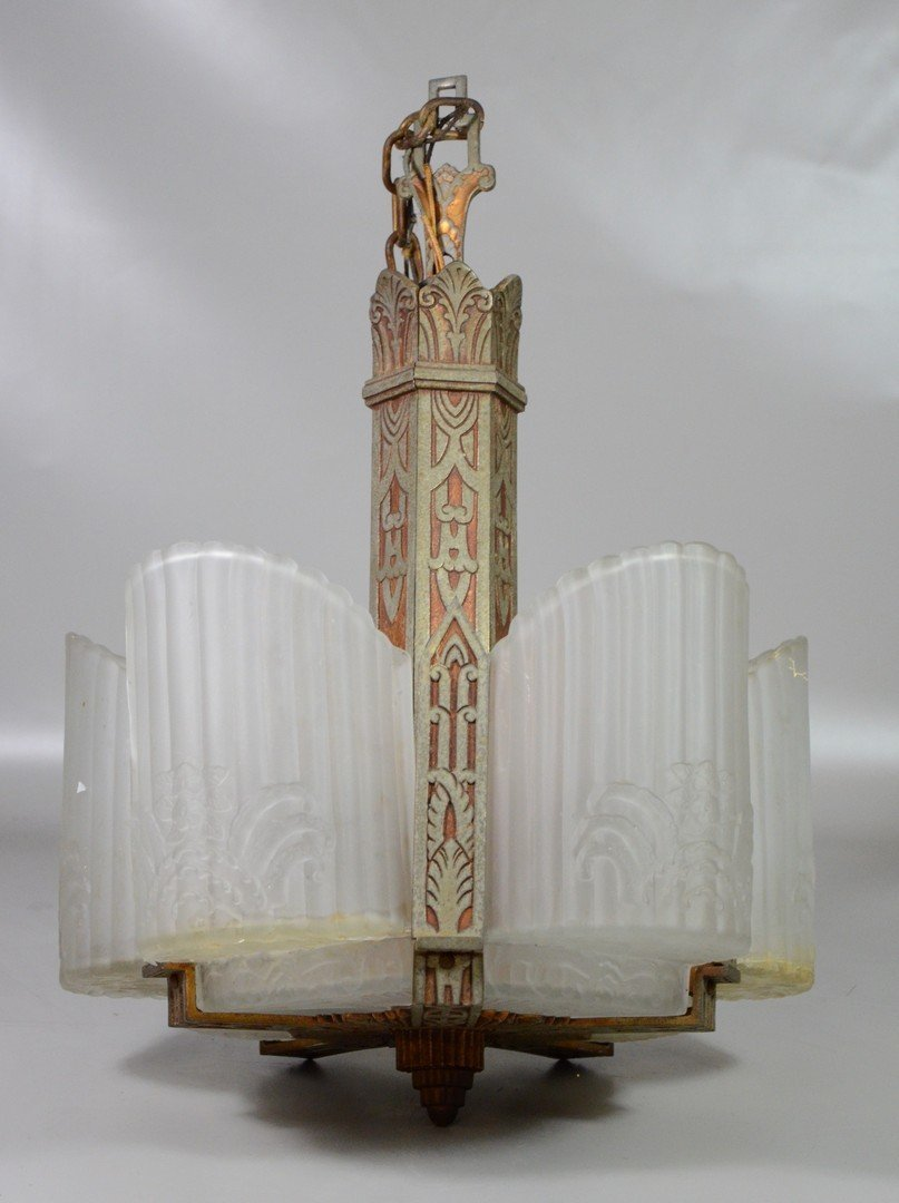 Frosted glass art deco hanging light fixture, damage to