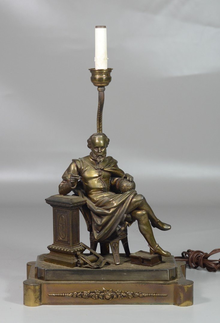 Lamp in the form of seated figure of Shakespeare with