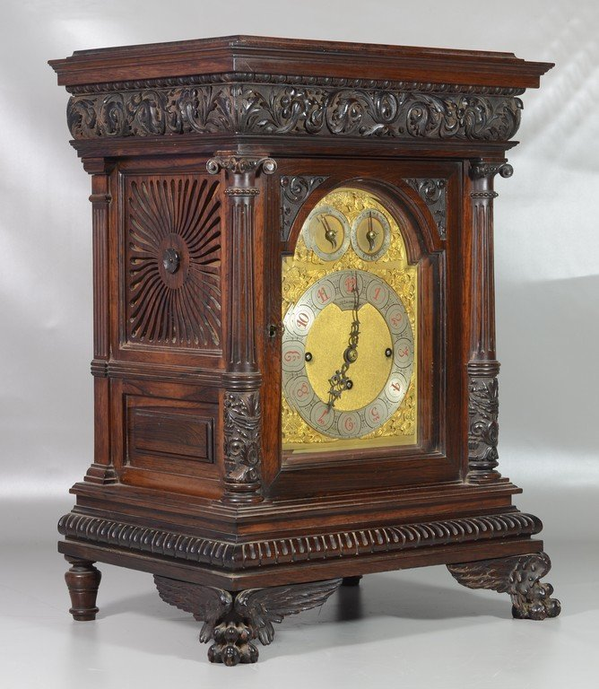JE Caldwell carved rosewood bracket clock, English