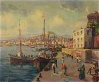 Jack Prudnik American b 1914 Oil on canvas Dock sc