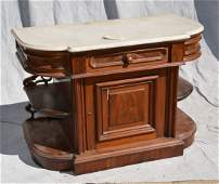 Walnut Victorian credenza, white marble top, base with