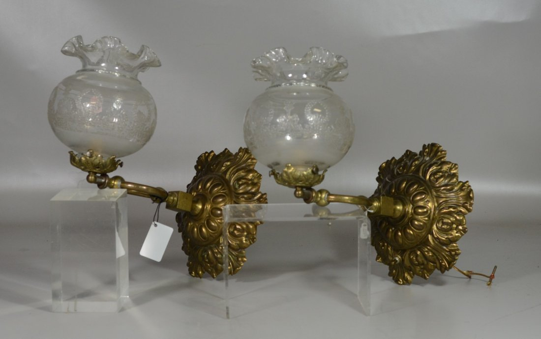 Pr brass Victorian style wall sconces, etched shades,