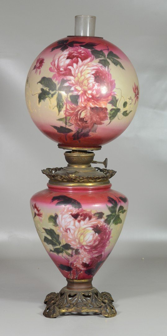 Victorian gone with the wind lamp, never electrified,