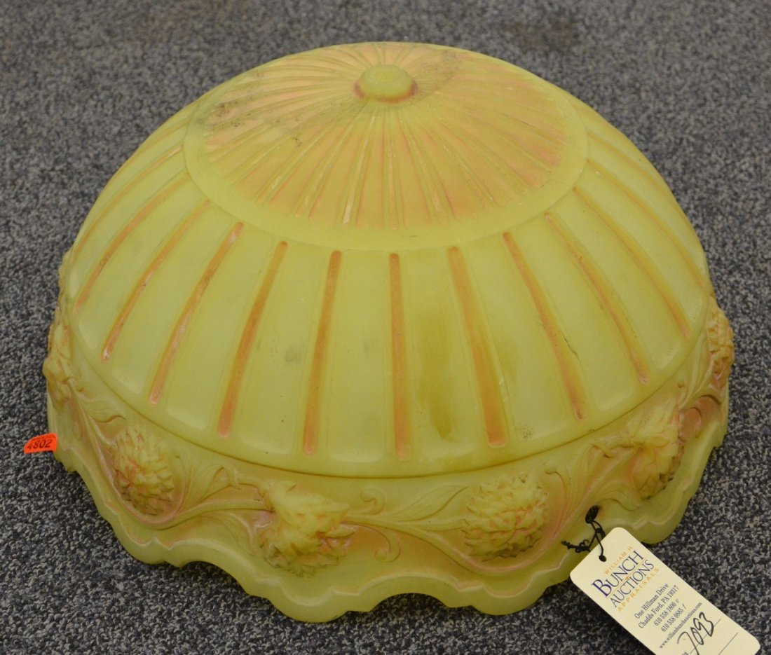Vaseline colored pattern glass ceiling lamp hanging