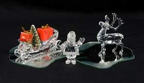 3 Swarovski crystal Christmas figurines Santa Claus