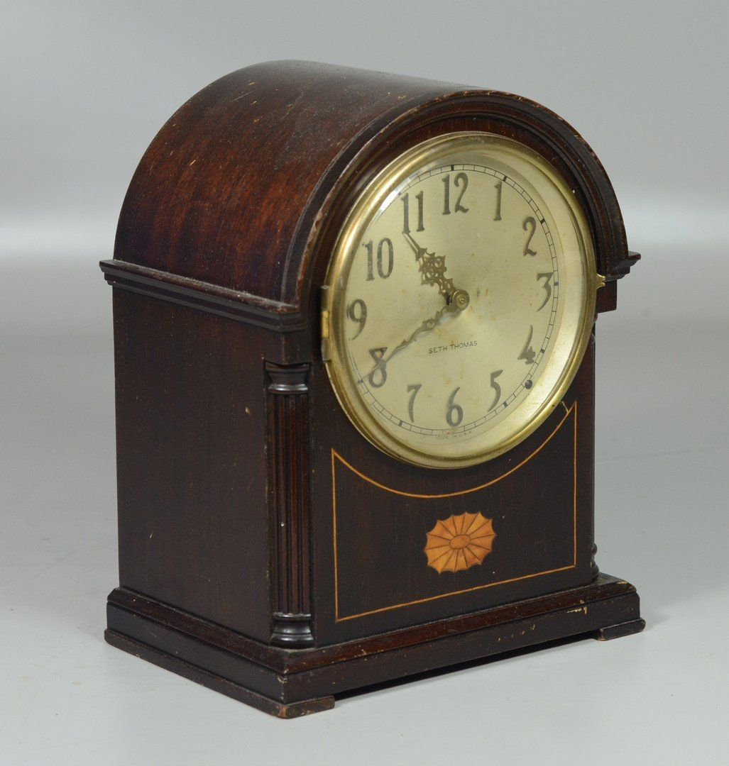 Seth Thomas inlaid mahogany electric mantle clock, No