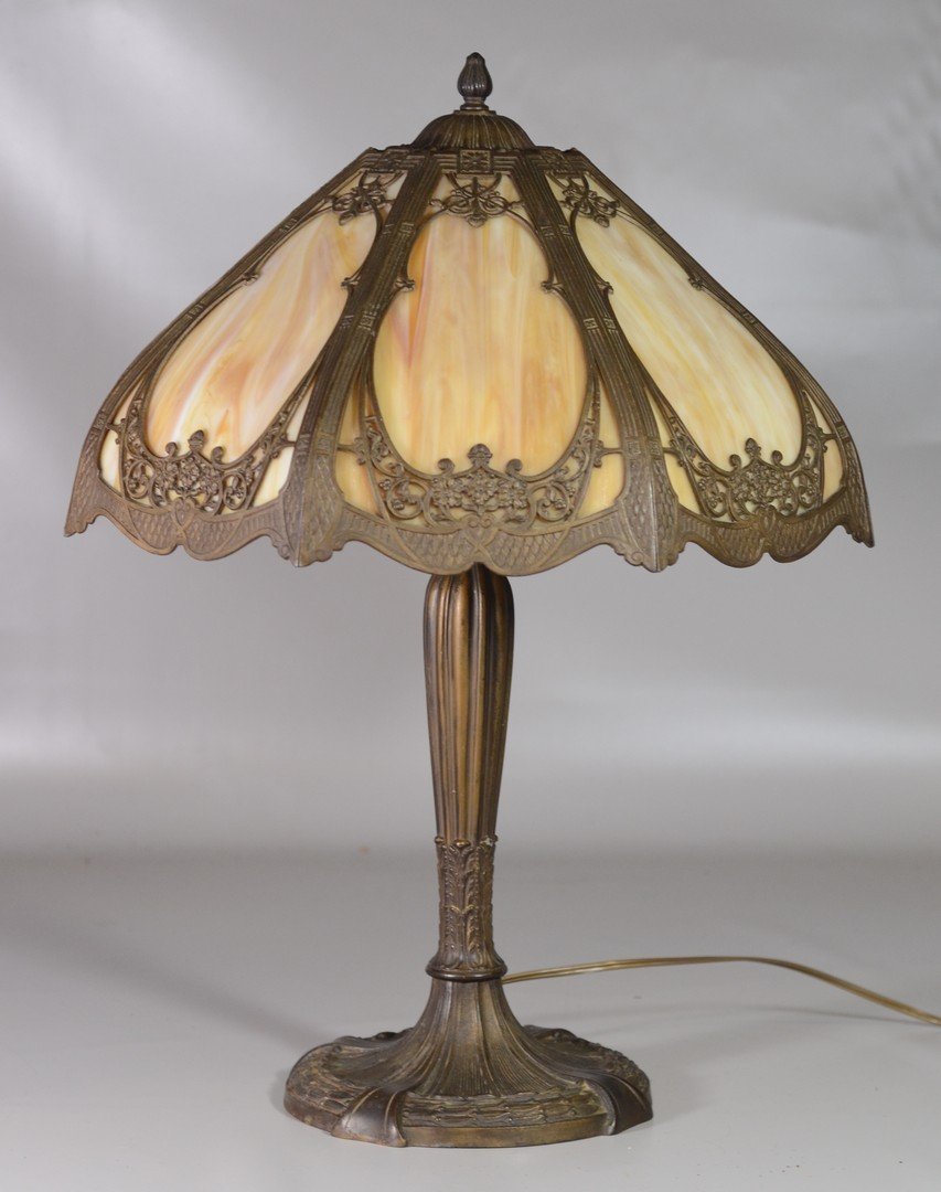Royal Art Glass Co Slag Glass Table Lamp